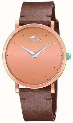Lotus Pulseira de couro marrom feminino | mostrador de ouro rosa L18778/2