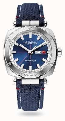 Michel Herbelin Herança de Newport automática | pulseira de couro azul | mostrador azul 1764/42