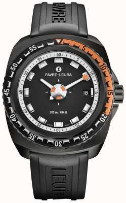 Favre Leuba Raider azul profundo 41 | pulseira de borracha preta | mostrador preto 00.10106.09.13.31