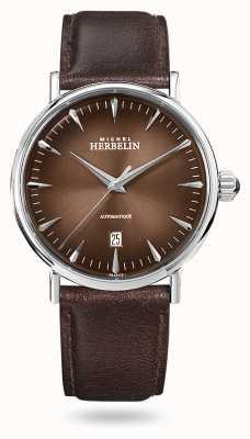 Michel Herbelin Inspiração automática | pulseira de couro marrom dos homens | mostrador marrom 1647/AP27