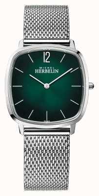 Michel Herbelin Cidade | pulseira de malha de aço para homem | mostrador verde 16905/16B