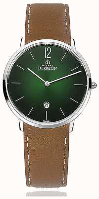 Michel Herbelin Cidade | pulseira de couro marrom dos homens | mostrador verde 19515/16NGO