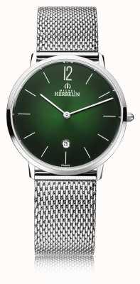 Michel Herbelin Cidade | pulseira de malha de aço para homem | mostrador verde 19515/16NB