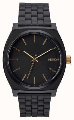 Nixon Caixa de tempo | preto fosco / dourado | pulseira de aço ip preto | mostrador preto A045-1041-00