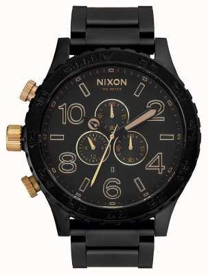 Nixon 51-30 crono | preto fosco / dourado | pulseira ip preta | mostrador preto A083-1041-00