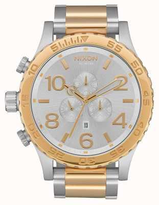 Nixon 51-30 crono | prata / ouro | pulseira de dois tons | mostrador prateado A083-1921-00