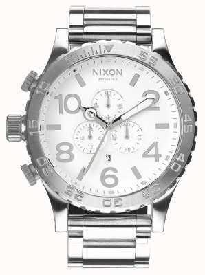 Nixon 51-30 crono | alto polimento / branco | pulseira de aço inoxidável | mostrador branco A083-488-00