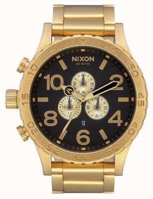 Nixon 51-30 crono | todo ouro / preto | pulseira ip em ouro | mostrador preto A083-510-00