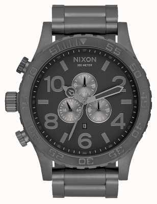 Nixon 51-30 crono | todo gunmetal | pulseira de aço metálico | mostrador de metal A083-632-00