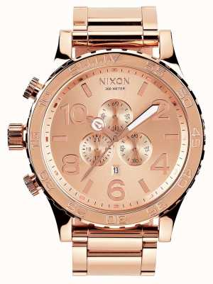 Nixon 51-30 crono | todo ouro rosa | pulseira ip em ouro rosa | mostrador de ouro rosa A083-897-00