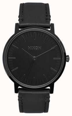 Nixon Couro de Porter | tudo preto | pulseira de couro preta | mostrador preto A1058-001-00