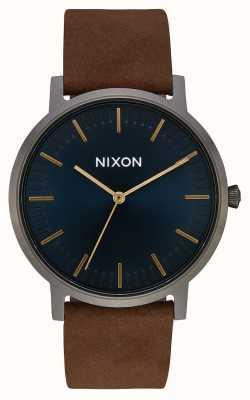 Nixon Couro de Porter | bronze / índigo / marrom | pulseira de couro marrom | mostrador índigo A1058-2984-00
