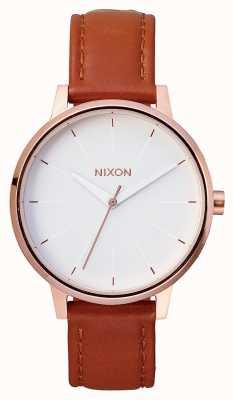 Nixon Couro Kensington | ouro rosa / branco | pulseira de couro marrom | mostrador branco A108-1045-00