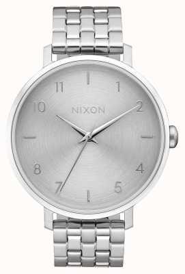 Nixon Arrow | toda prata | pulseira de aço inoxidável | mostrador prateado A1090-1920-00