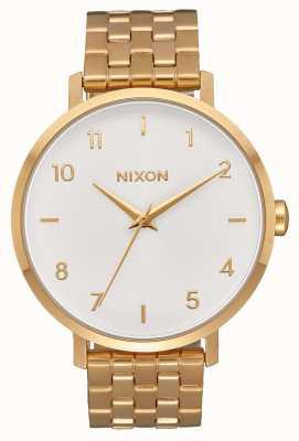 Nixon Arrow | todo ouro / branco | pulseira de ouro ip aço | mostrador branco A1090-504-00