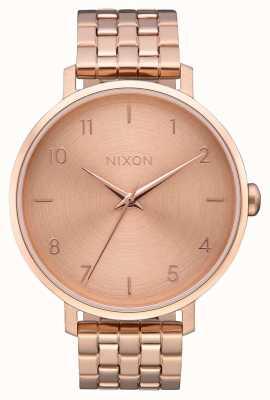 Nixon Arrow | todo ouro rosa | pulseira de aço ip em ouro rosa | mostrador de ouro rosa A1090-897-00
