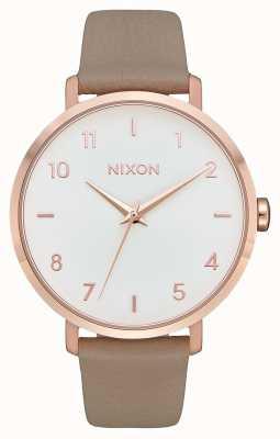 Nixon Couro seta | ouro rosa / cinza | pulseira de couro cinza | mostrador branco A1091-2239-00