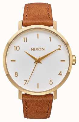 Nixon Couro seta | ouro / branco / sela | pulseira de couro marrom | mostrador branco A1091-2621-00