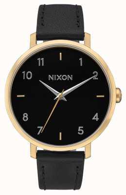 Nixon Couro seta | ouro / preto | pulseira de couro preta | mostrador preto A1091-513-00