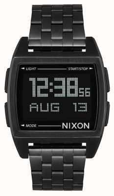 Nixon Base | tudo preto | digital | pulseira de aço ip preto | A1107-001-00