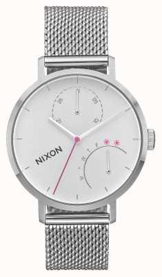 Nixon Embreagem | toda prata | malha de aço inoxidável | mostrador branco A1166-1920-00