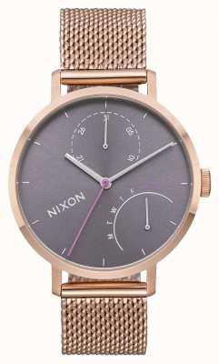 Nixon Embreagem | todo ouro rosa / cinza | malha de aço ip ouro rosa | mostrador cinza A1166-2618-00