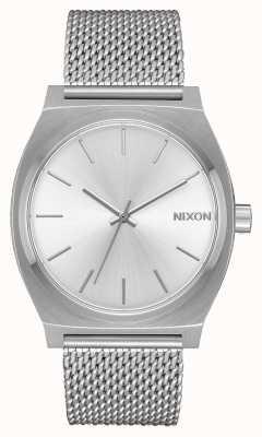 Nixon Caixa de tempo milanês | toda prata | malha de aço inoxidável | mostrador prateado A1187-1920-00