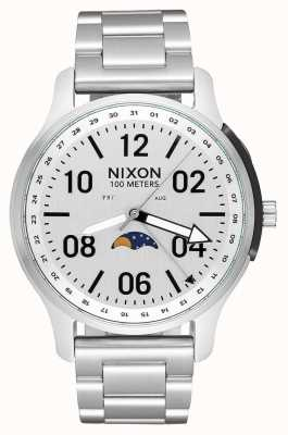 Nixon Ascender | toda prata | pulseira de aço inoxidável | mostrador branco A1208-1920-00