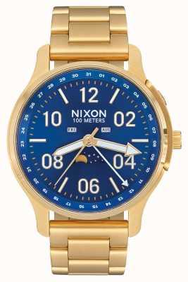 Nixon Ascender | todo o raio de sol dourado / azul | aço ip ouro | mostrador azul A1208-2735-00