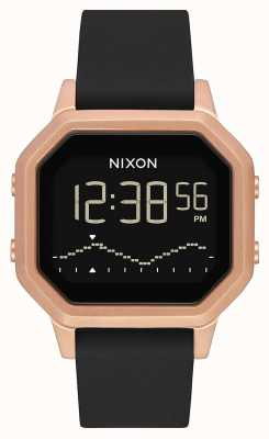 Nixon Siren ss | ouro rosa / preto | digital | pulseira de silicone preta A1211-1098-00