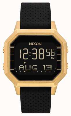 Nixon Siren ss | ouro / preto lh | digital | pulseira de silicone preta A1211-2970-00