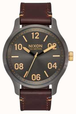 Nixon Couro de patrulha | bronze / ouro | pulseira de couro marrom | mostrador de metal A1243-595-00