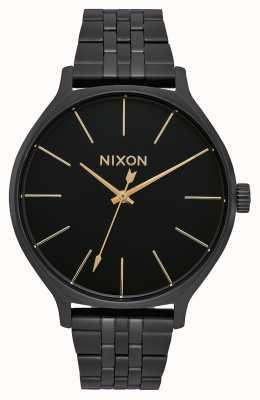 Nixon Clique | tudo preto | pulseira de aço ip preto | mostrador preto A1249-001-00