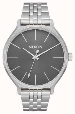 Nixon Clique | todo prateado / cinza | pulseira de aço inoxidável | mostrador prateado A1249-2762-00