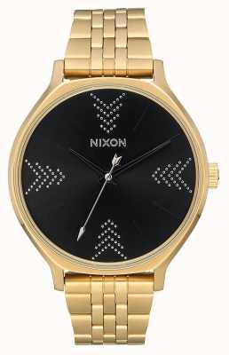 Nixon Clique | ouro / preto / prata | pulseira de ouro ip aço | mostrador preto A1249-2879-00