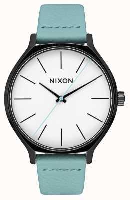 Nixon Couro Clique | preto / menta | pulseira de couro verde menta | mostrador branco A1250-3317-00