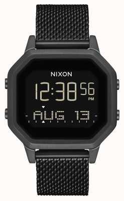 Nixon Siren milanesa | tudo preto | digital | malha de aço ip preta | A1272-001-00