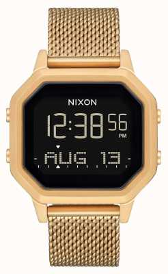 Nixon Siren milanese | todo ouro | digital | pulseira de malha de aço ip ouro A1272-502-00