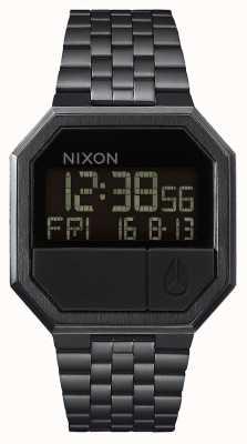 Nixon Executar novamente | tudo preto | digital | pulseira de aço ip preto A158-001-00