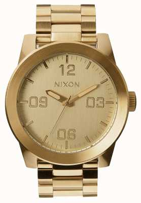 Nixon Corporal ss | todo ouro | pulseira de ouro ip aço | mostrador de ouro A346-502-00
