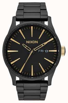 Nixon Sentry ss | preto fosco / dourado | pulseira de aço ip preto | mostrador preto A356-1041-00