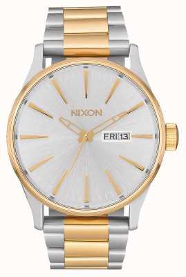 Nixon Sentry ss | prata / ouro | pulseira de aço em dois tons | mostrador prateado A356-1921-00