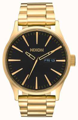 Nixon Sentry ss | todo ouro / preto | pulseira de ouro ip aço | mostrador preto A356-510-00