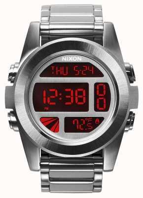 Nixon Unidade ss | prata / vermelho | digital | pulseira de aço inoxidável A360-1263-00