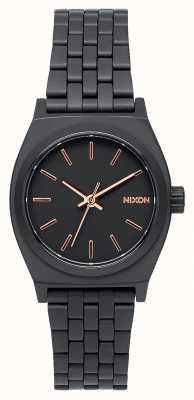 Nixon Pequeno contador de tempo | todo preto / ouro rosa | pulseira de aço ip preto | mostrador preto A399-957-00