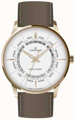 Junghans Cristal de safira Meister worldtimer | pulseira de couro marrom | mostrador prateado 027/5012.02