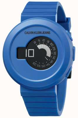Calvin Klein Digirock masculino   pulseira de silicone azul   mostrador preto KAN51YV1