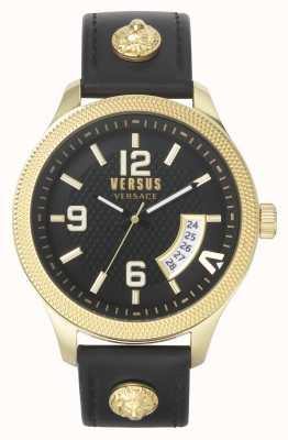 Versus Versace Homens versus reais | pulseira de couro preta | mostrador preto VSPVT0220