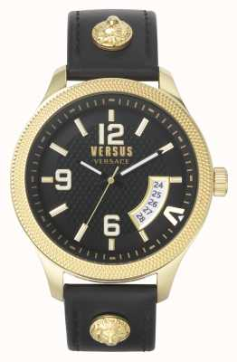 Versus Versace | homens | reale | pulseira de couro preta | mostrador preto | VSPVT0220