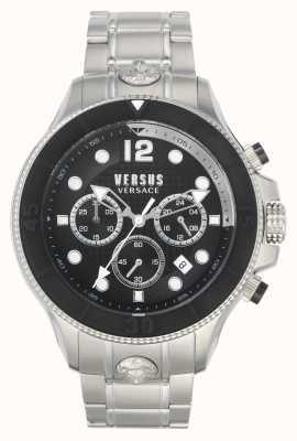 Versus Versace Volta masculina versus | pulseira de aço inoxidável | mostrador preto VSPVV0420